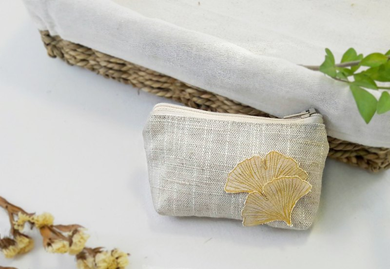 Simple coin purse - ginkgo leaf slub