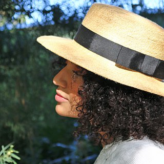 "Straw Boater hat with wide brim ""Fred"""