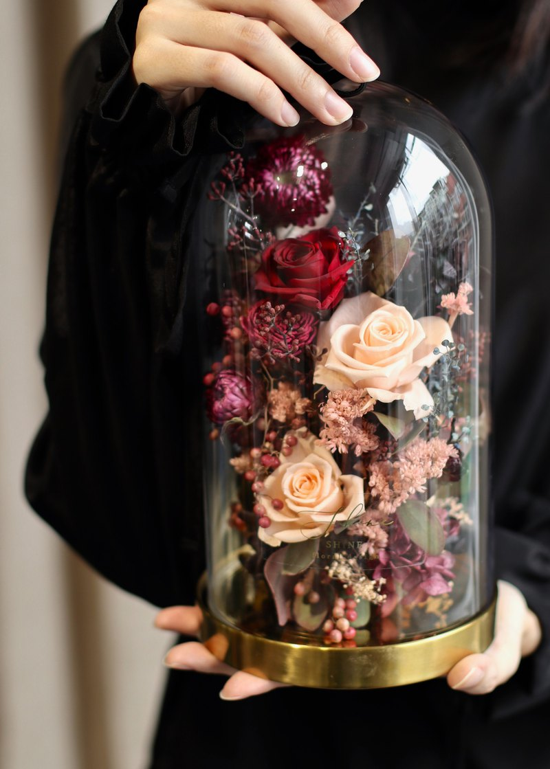 European antiques without rose glass bell jar