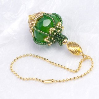 Green perfume bottle shape bag charm, beaded bottle pendant, 1503