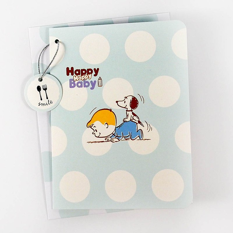 Snoopy blesses the little boy baby [Hallmark stereo card baby Hexi]