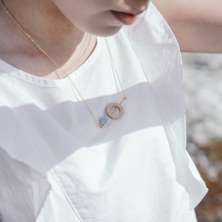 White Marble Pattern Concrete Bubble With Wood Necklaces