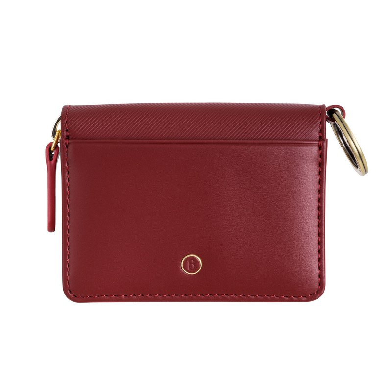 Vigor series leather double card key purse - wine red