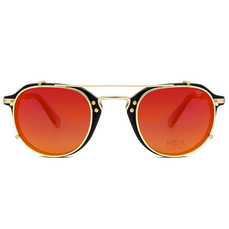 Optical glasses with front hanging sunglasses | sunglasses | black orange round frame | Italy | metal frame