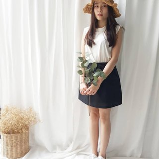 Linen Short Skirt - Black
