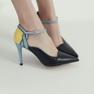 Followed by a string around the ankle leather high heel shoes black and blue