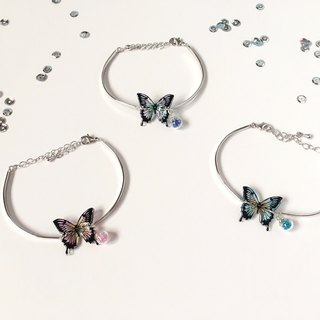 *Haku‧Neko* Hand painted Swallowtail Butterfly Purple and Green colour with Glass Ball 925 Sterling Silver Bracelet