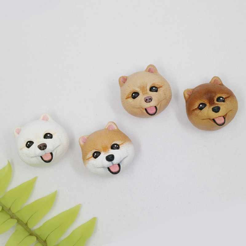 - Pomeranian head - / brooch / safety pin / magnet / hair ring / charm / identification card / necklace