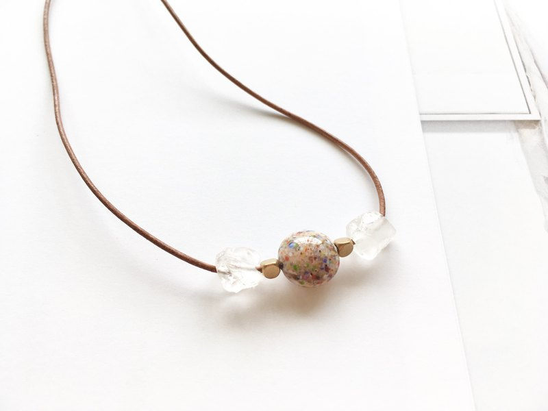 Hey Boho | Italian Glass Bead White Crystal Leather Necklace - White Crystal Primary Leather Rope