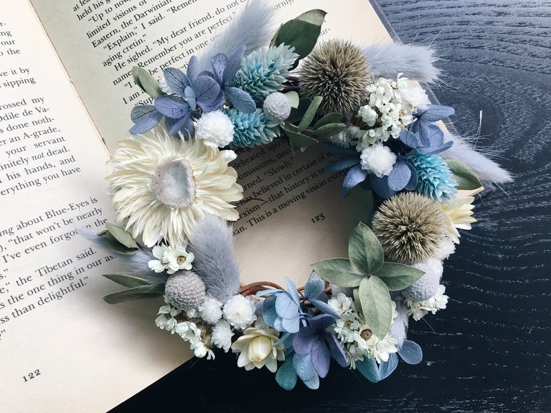 [Good] Flowers Nicaragua Niagara blue color does not wither dried wreaths birthday gift Valentine's Day gift handmade wreaths Opening (S)