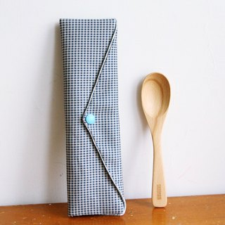 Wen Qingfeng environmental chopsticks bag ~ high quality fine grid wild blue Japanese storage bag hand made tableware bag. Gift