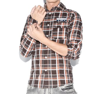 Appliqué standard brown plaid long-sleeved shirt