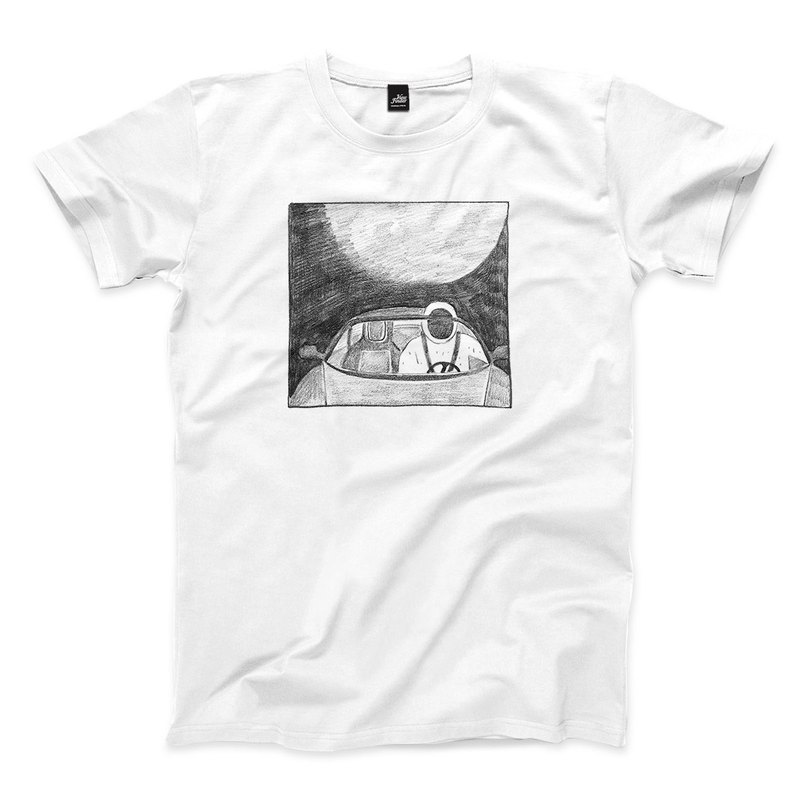 Space Dummy Listening to Music - White - Neutral T-shirt