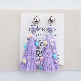 Light purple long tassel with pastel beads earrings