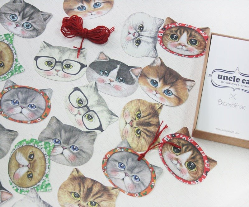 & Cabinet Uncle Cat Gift Tag Small Card Sticker Set