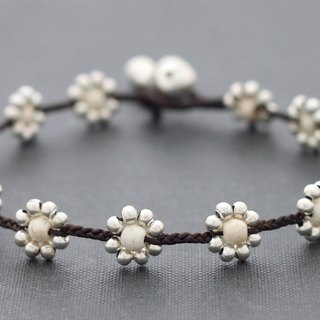 Daisy Anklets White Turquoise Silver Anklets Beaded Woven