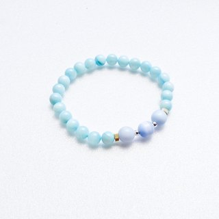 Ocean #1 Blue White Marble/ Opal/ Sterling Silver Beads/ Brass