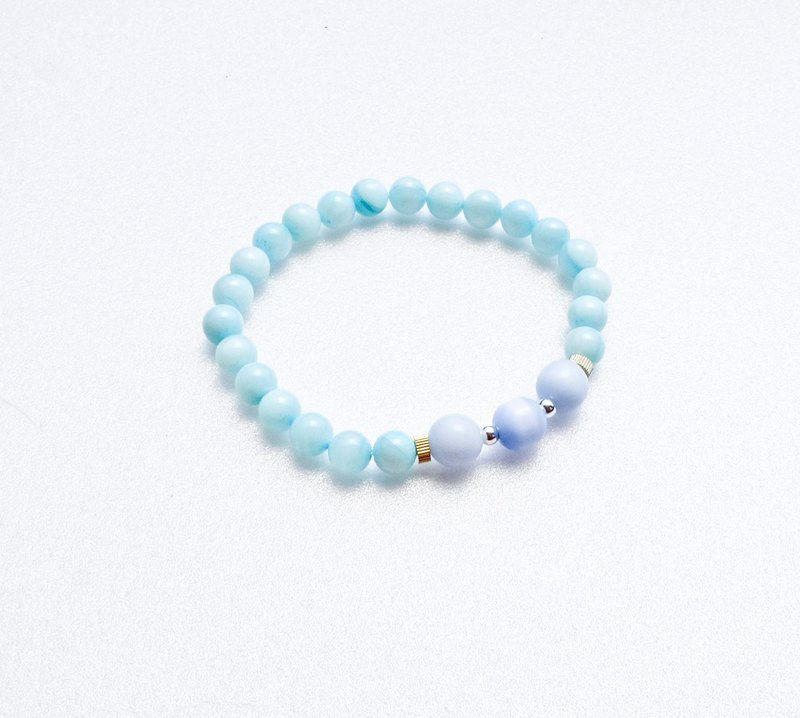 Ocean #1 Blue White Jade / Opal / Sterling Silver Beads / Brass