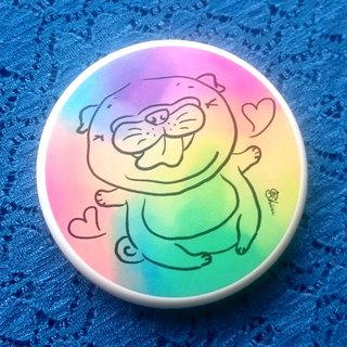 Pocket Mirror-Rainbow pug