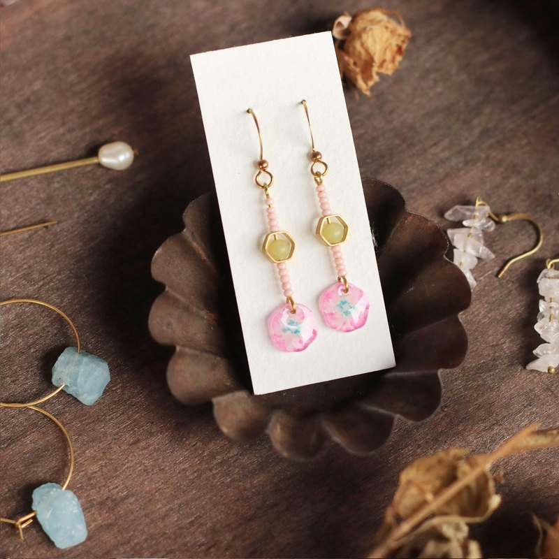 Flower collection book mini handmade earrings - sweet and can change the clip