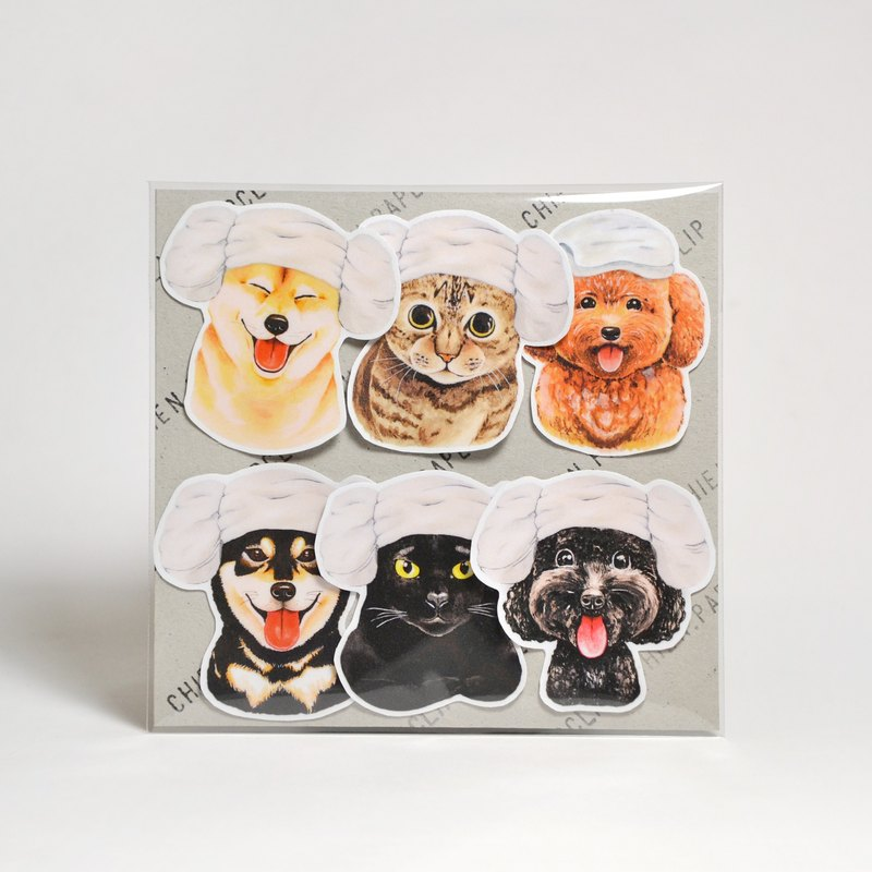 Matte waterproof stickers - sheep head cats and dogs