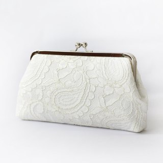 Handmade Clutch Bag in Ivory | Gift for Bridal, Bridesmaids | Alencon Paisley Lace