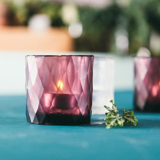 """Candle Cup"" Drill Handmade Candle Cup - Purple Red"