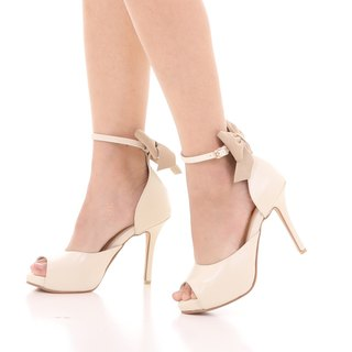 REBECCA; Joyful Party Pumps, 100% Genuine Leather Open Toe Heel