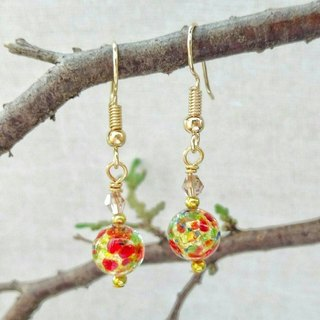 [Venetian Glass Beads] Jeweled Gold Foil Murano Glass Beads Earrings (Clip-on Available)