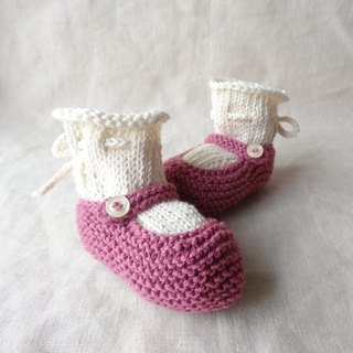 3M ~ strap shoes baby bootie set wool × Cotton 231