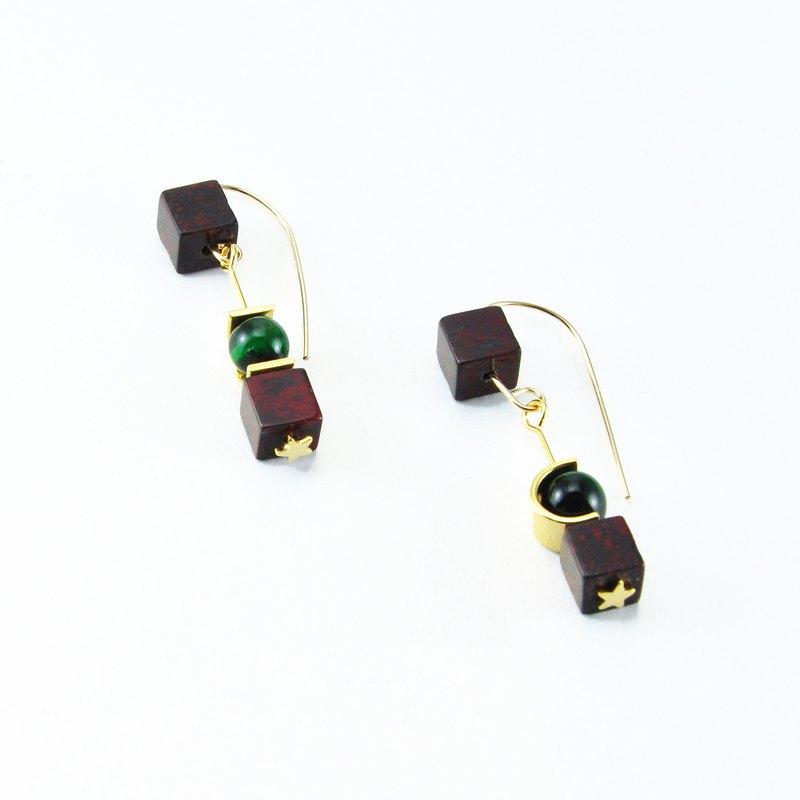 前衛大理石14KGF耳環 獨家設計 大理石 綠色 酒紅色 星星