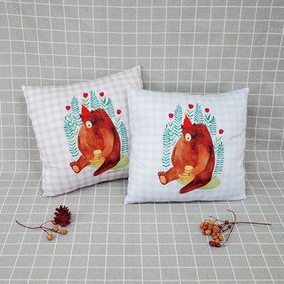 [Good day] flaming honey check pillow