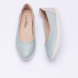 [The cradle in the afternoon] full leather contrast color casual shoes _ mint almond