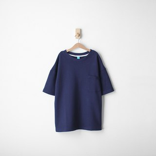 Loose off-shoulder version of cotton plain face Tseung pocket Tee - size Qi