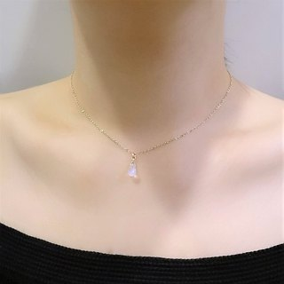Rainbow Moonstone Faceted Teardrop Briolette Dainty 14K GF Adjustable Necklace