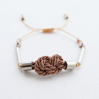 Infinity knot twisted rope in cinnamon brown adjustable bracelet