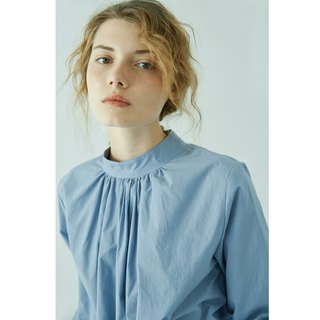 Gray-blue cotton pleated shirt