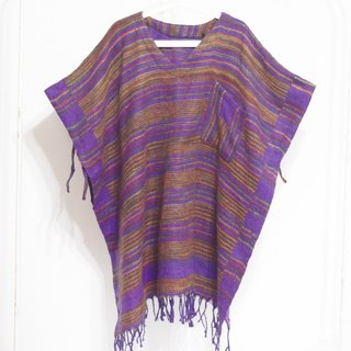 Christmas gift limited a knitted pure wool shawl / national wind cloak / Indian tassel shawl / bohemian cloak shawl / wool cloak / hand scarf - purple world color stripes