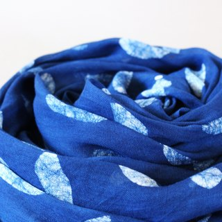Blue dyed scarves - earth leaves