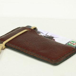 Absolutely stuck - two-tone leather (calf coffee / black head skin) Sew-card holder / MRT Easy Card holder / card holder / purse
