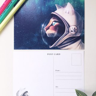 Animal illustration postcards [Cats aspire to space]