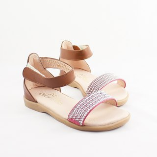 Diamond Candy Leather Children's Sandals - Sweetheart Peach