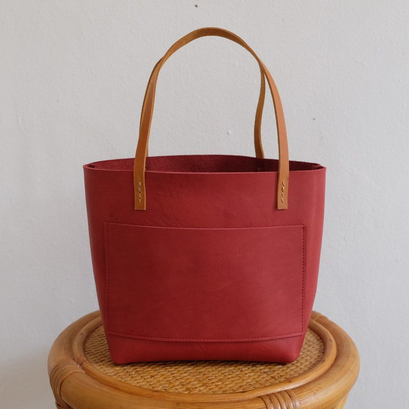 Mini Raw Leather Tote Bag