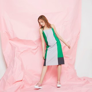 Colorblock Paneled Cami Dress (Green)