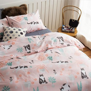 Powder garden 喵 single double bed / bed bag hand-painted cat 40 cotton bedding pillowcase quilt cover