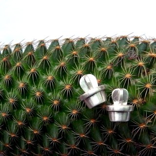 Tiny Cactus Potted--Sterling Silver--Cute Cactus--Stud Earrings
