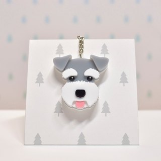 Schnauzer (grey) - key ring acrylic