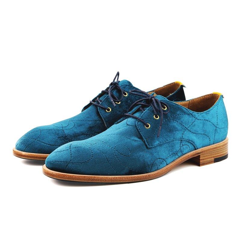Sweet Villians M1170 手工真皮流線德比鞋 孔雀藍