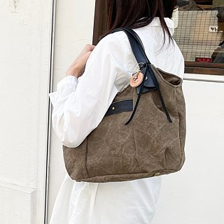 tanton-mini_ Olive Tannin Dyed Canvas × Leather Bag