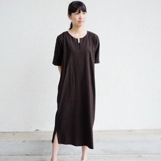 Ethical Hemp Long Tunic Mud Dyed Dark Brown